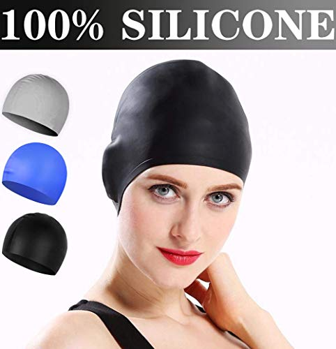 Comforer Swim Cap Silicone Swimming Cap for Women Men Adults Youths Waterproof Bathing for Long or Short Hair with 3D Ergonomic Design, Comfortable Fit Swim Caps - Black