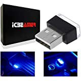ICBEAMER Blue Universal USB Interface Plug-in Miniature Night Light LED Car Interior Trunk Ambient Atmosphere [1 pc]