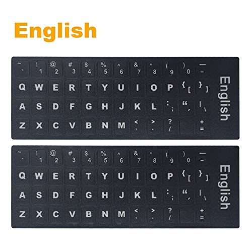 [2PCS PACK] Universal English Keyboard Stickers, Typing Keyboard Stickers Black Background with White Lettering for Computer (English)