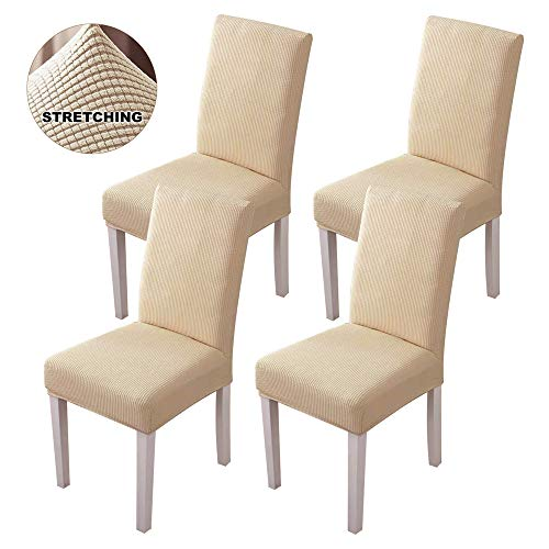 Famiry Stretch Dining Room Chair Slipcovers Sets Removable Washable Dining Chair Covers for Hotel,Dining Room,Ceremony,Banquet Wedding Party Set of 4, Beige