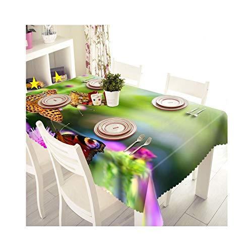 SnowFig Nappe Lin Velours Papillon 3D Style Rural Décoration Maison Table Tissu Fond Tissu Nappe S'Habiller, Diamètre Rond 135Cm