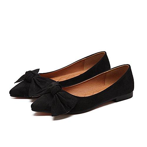 Casual Plano de Calzado luz Mujer Zapatos Pajarita Mujer con Color Zapatos en Sugerencia Qiqi Negro Baja Solo y Plana de Xue Sólido xw4Cqf0