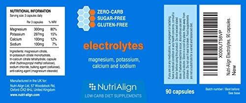 """Electrolitos Nutri-Align: Magnesio, Potasio, Calcio, Sodio. Asegura el Balance Saludable de Electrolitos y Ayuda a Reducir la Gripe Ceto (""""Keto Flu"""")."""