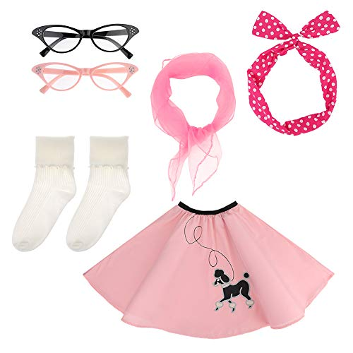 50s Girls Costume Accessory Set - Poodle Skirt, Chiffon Scarf, 2 Pair Cat Eye Glasses,Bobby Socks and Polka Dot Headband-Pink (style4)