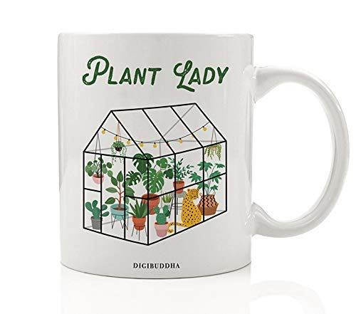 Gardening Plant Lady Coffee Mug Gift Idea Flower Vegetable Landscaper Greenhouse Indoor Outdoor Gardener Christmas Holiday Birthday Present Mother Grandmom 11oz Ceramic Tea Cup Digibuddha DM0436