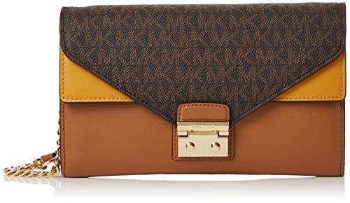 Michael Kors Sloan Large Envelope Wallet On A Chain Bicolor King Leather (Brn/acr/mrgl)