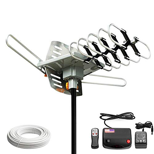 (Dual Band UHF VHF Power Amplified Rotating 360° 36dB Hd Hdtv Digital Indoor Outdoor Tv Antenna with IR Remote Control Rotating)