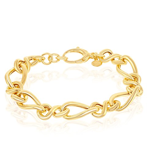 Sterling Silver 14K Gold Overlay Alternating Infinity & Twisted 7+1