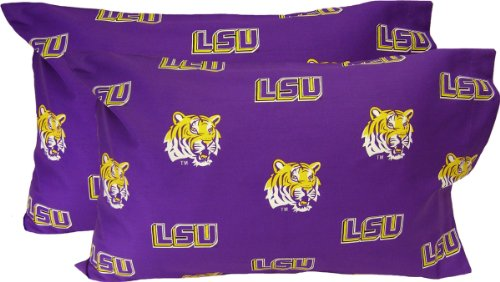 LSU Printed Pillow Case - (Set of 2) - Solid by College Covers