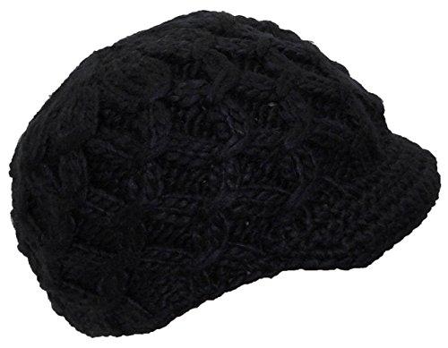 Angela & Williams Womens Knit Winter Skull Cap W/Crochet Visor