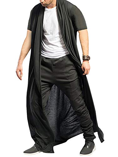 (Men's Ruffle Shawl Collar Cardigan Open Front Outwear Long Cape Poncho Trench Coat (X- Black, Medium))