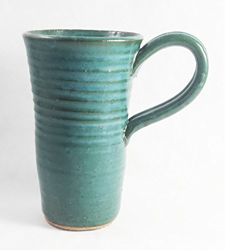 Aunt Chris' Pottery – Hand Made Clay – Drinking Mug/Cup – Blue Green Glazed – Looped Handle – With a Natural Stone Base – Fits Most Personal Serving C…