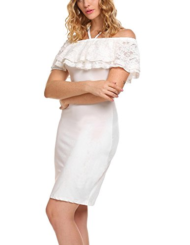 Ruffle Halter Cocktail Dress (Zeela Women's Lace Ruffles Off Shoulder Sexy Halter Cocktail Party Pencil Bodycon Dress)