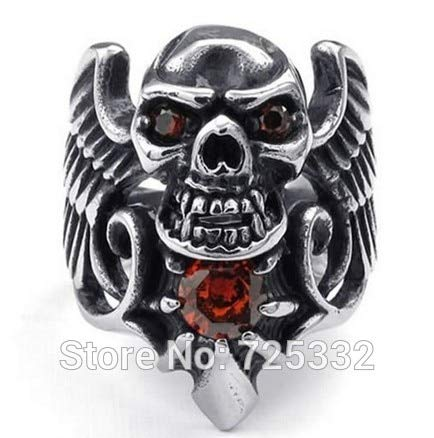 Fashionable Jewelry | Men's Cubic Stainless Steel Rings | Gothic Tribal Wing Skull Red Black Silver Rings (Size 8 to 13)