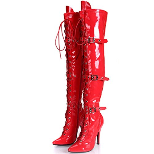 de Mujeres femeninas 12cm Botas de Botas rodilla tacón Elasticidad la RED Club Blanco botas Damas escenario Bien nocturno 35 35 alto de con Botas Zippered pZxqtpvr