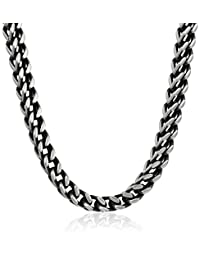 Men's Stainless Steel Foxtail with Push Lock Chain Necklace