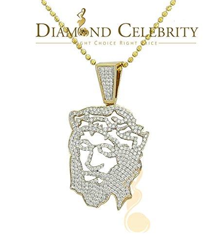 - 10K Yellow Gold Finish Men's Jesus Face Silver Pendant w/ Lab Created Diamond