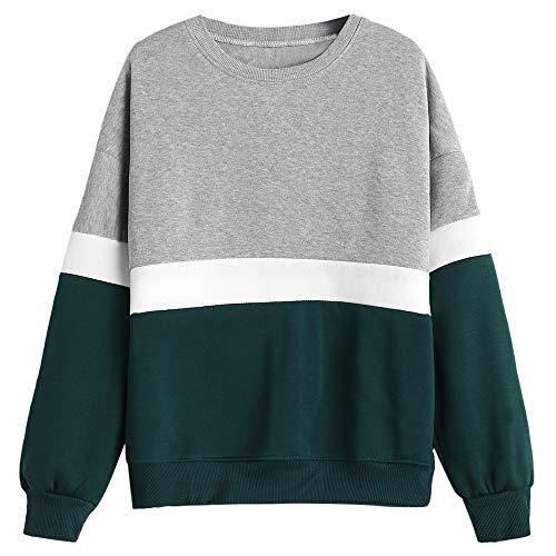 ZAFUL Women Fashion Sweatshirt Tricolor Plain Pullover Long Sleeve Casual Outwear(Grey,L) ()
