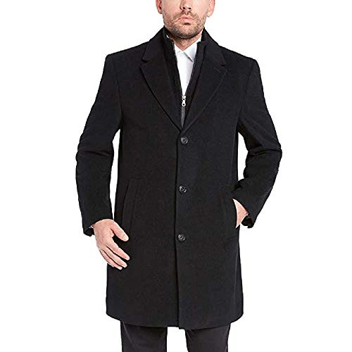 (Kirkland Signature Full Lined Wool Cashmere Blend Overcoat w/Removable Bib (Black,44)