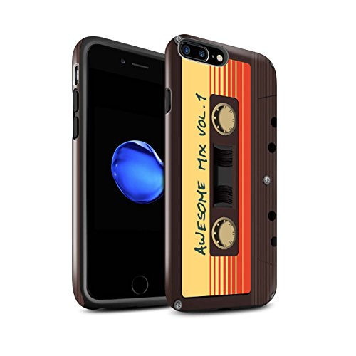 Design Mix Gloss - STUFF4 Gloss Tough Shock Proof Phone Case for Apple iPhone 8 Plus/Awesome Mix Tape Design/Guardians Comic Inspired Collection