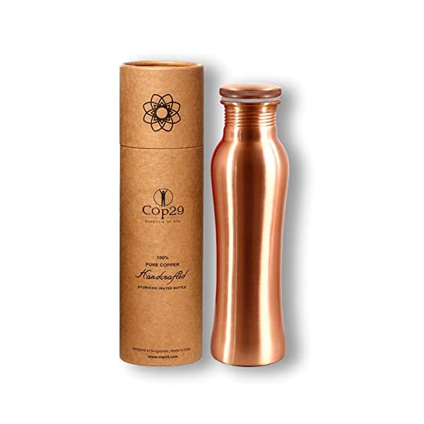 Cop29 Essence of Life Mat Finish Copper Fairy Water Bottle, 900ml, Set of 1, Gold