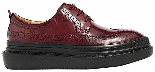 U-lite Burgundy Perforated Lace-up Wingtip Leather Flat Oxfords Vintage Oxford shoes Women BurPlat 5.5