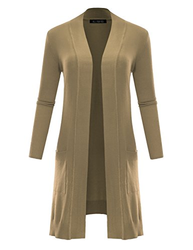 ALL FOR YOU Women's V-Neck Long Duster Cardigan Cardigan Sweater Khaki Small ()