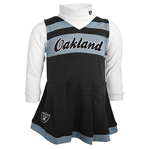 Girls Outfit For Cheerleader (NFL Oakland Raiders Girls Cheer Jumper Dress with Turtleneck Set, 3T,)