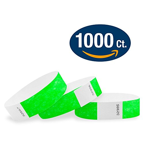 "WristCo Neon Green 3/4"" Tyvek Wristbands - 1000 Pack Paper Wristbands For Events"