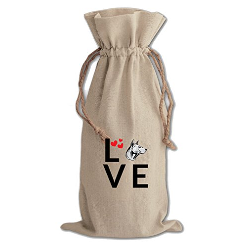 Canvas Wine Cotton Drawstring Bag Love Hearts Thai Ridgeback Dog Style In Print by Style in Print