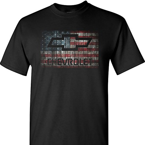 Chevy Chevrolet With American Flag On A T Shirt Black X Large