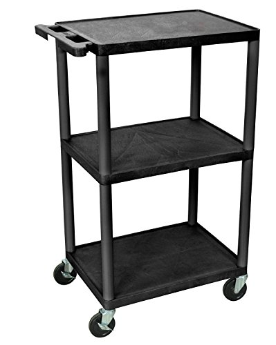 Luxor LP42-B Multipurpose 3 Shelves AV Presentation Cart - Black by Luxor