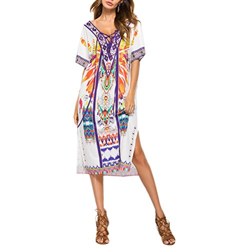 Floral for Swimsuit Zhhlinyuan Dresses Beach Summer Printed Sexy Ladies Sundress Dress Casual Women zqIpv