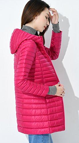 Hooded Chouyatou Anoraks Packable Down Jacket Zipper Women's Full Rose Lightweight HnxA4w