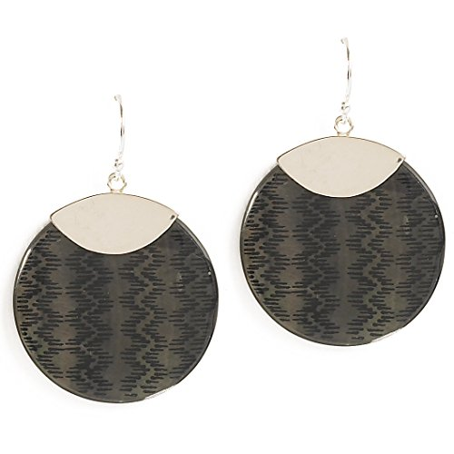 Coyote Circle Earrings - Jody Coyote Earrings Loom Collection LOM-0312-09 silver black dangle circle