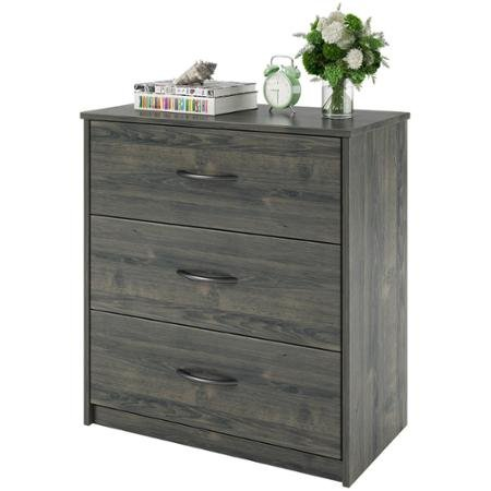 Mainstays 3-Drawer Dresser, Modern, Contemporary look, Brushed silver-tone decorative pulls
