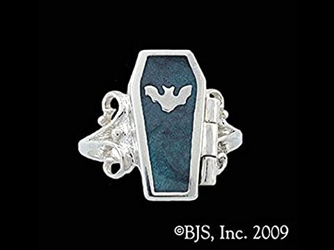 Gothic Night Bat Hidden Chamber Opening Coffin Ring with Peacock Enamel in Sterling Silver (Sterling Silver Coffin Ring)