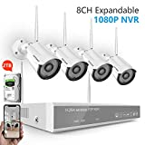 [2019 New] Security Camera System Wireless,Safevant 8CH 1080P Security Camera System(2TB Hard Drive),4PCS 1080P Indoor&Outdoor IP66 Wireless Security Cameras,Auto Pair,Plug&Play,No Monthly Fee