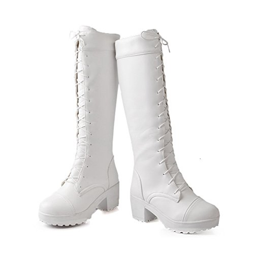 AllhqFashion Womens Soft Material Lace-up Round Closed Toe Kitten-Heels High-top Boots White acuOfiRC
