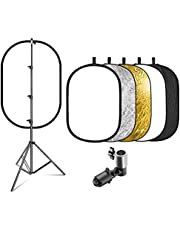 eWINNER 110 * 150cm 5-in-1 Oval Light Reflector Set Portable with Bag + 2meter stand + Reflector Clamp for Photography Photo Lighting