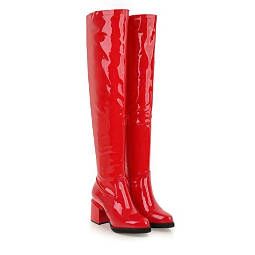 Red T-JULY Fashion Women Over The Knee Boots Patent Leather High Heels Large Ladies Party shoes