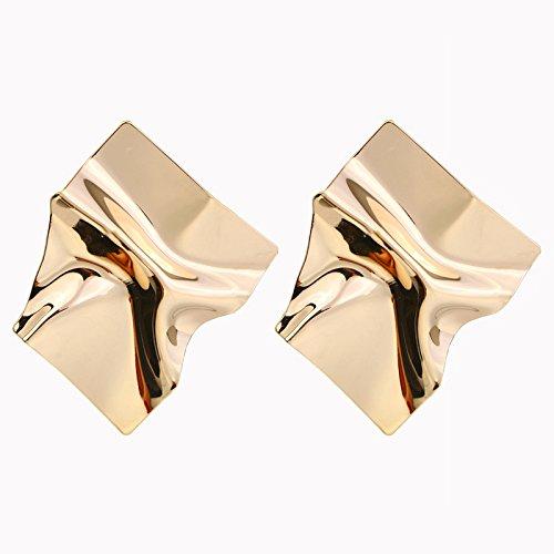 犯す川爪DuRone - 不規則な表面光沢のあるメタル?パンク?ロックスタッドピアスファッションジュエリーの女性のステートメントイヤリングゴールデン&シルバー色