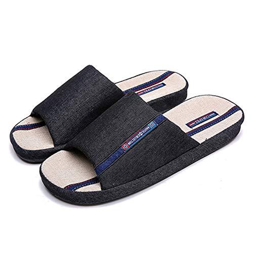 (BUYITNOW Men's Cowboy Canvas Slip-on Slippers Non-Slip Sandal Moisture Wicking House Slippers Black)