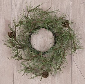 Pinecone Taper (Cypress Pine Taper Candle Ring Pinecones Country Primitive Rustic Cabin Floral Décor)