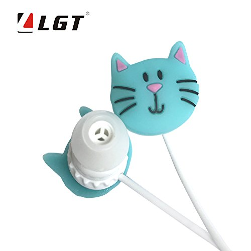 LGT Cartoon Earphone 3D Cute Cat Face Earbuds Headphones suitable to Remote and Mic for Apple Samsung HTC Android smartphones Tablets hands-free/in-ear style earbuds of Electronics Wired 3.5 mm