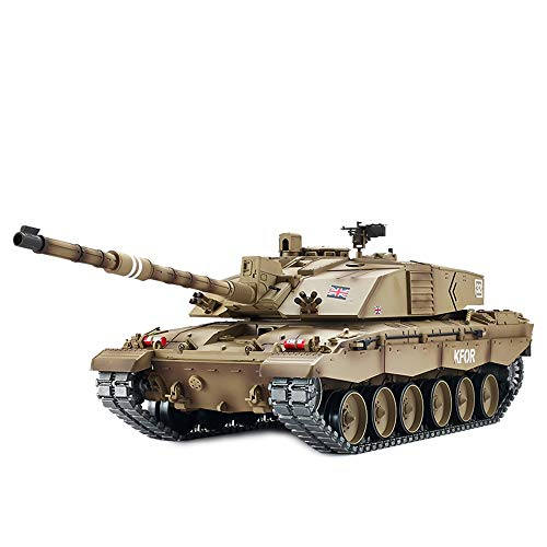 Xuess 2.4G Remote Control Metal Remote Control Tank Challenger 2 Can Fight Tracked Military Model Front Bright LED Light…