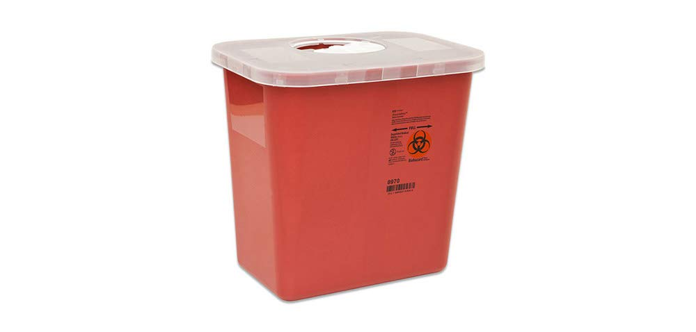 Kendall 8970 Sharps Disposal Biohazard Waste Container with Rotor Lid, 2 Gallon Capacity, 10.5'' Width x 10'' Height x 7.25'' Depth, Red Base (Case of 20) by Kendall/Covidien