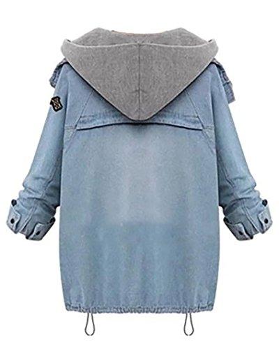Azzurro Cappuccio Donna Chiaro 2 Giacche Denim Giacca Cappotti Con In 1 Hoodie Jacket Cappotto Jeans XTgTOxw4