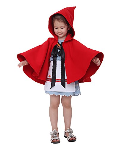 Miccostumes Kids Little Red Riding Hood Girl Halloween Cosplay Cloak Hoodie (Red)