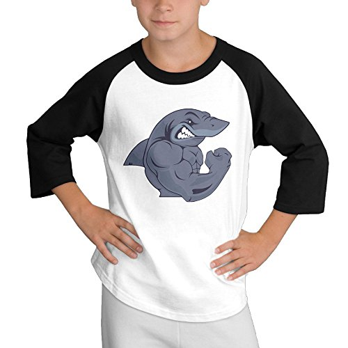 Price comparison product image MULTY9 Strong Shark Child Youth 3/4 Baseball Tee Medium